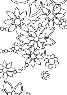 20200127花1縦(線画)のイラスト素材 [FYI04084937]