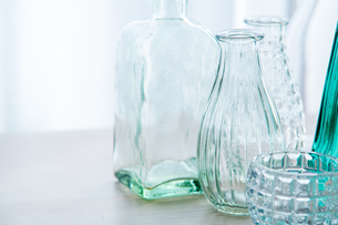 Beautiful glass vases on table. Modern,Quiet lifestyle concept.の写真素材 [FYI04085288]