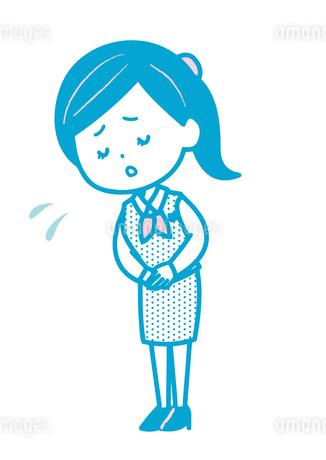 謝罪をするビジネス女性 ポーズ イラストのイラスト素材 [FYI04085499]