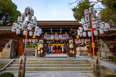 節分の櫛田神社の写真素材 [FYI04085815]