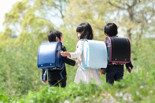 三人で並んで歩く新一年生の写真素材 [FYI04085847]