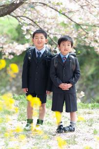 正装して並んで立つ二人の新一年生の写真素材 [FYI04085871]