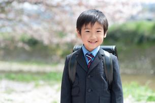 正装して笑う新一年生の男の子の写真素材 [FYI04085873]
