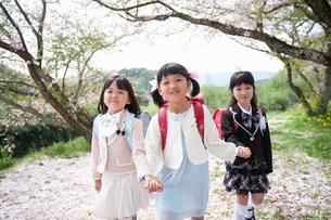 三人で並んで歩く正装した新一年生の女の子の写真素材 [FYI04085885]
