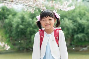 正装して微笑む新一年生の女の子の写真素材 [FYI04085921]