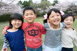 肩を組む四人の子供たちの写真素材 [FYI04085937]
