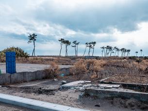 東日本大震災の被災地、宮城県仙台市荒浜地区の景色。の写真素材 [FYI04086085]