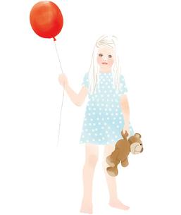 風船を持つ女の子のイラスト素材 [FYI04087393]