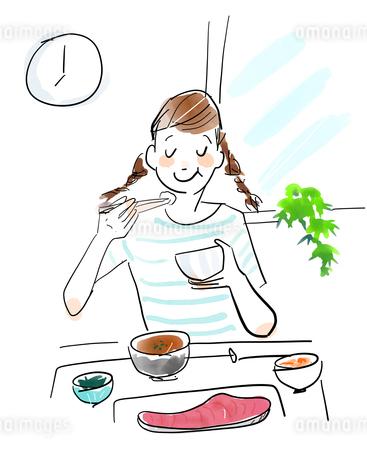 朝ご飯を食べる女性のイラスト素材 [FYI04087394]
