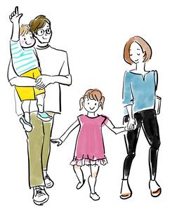 おでかけする家族のイラスト素材 [FYI04087396]