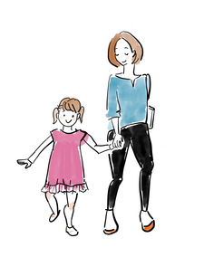 散歩する母と子供のイラスト素材 [FYI04087397]