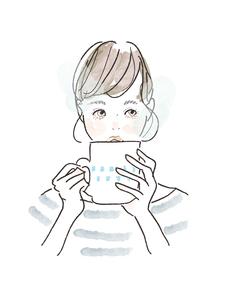 コーヒーを飲む女性のイラスト素材 [FYI04087401]