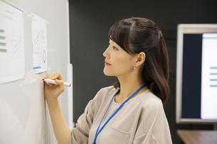 ホワイトボードに書く日本人ビジネス女性の写真素材 [FYI04087471]