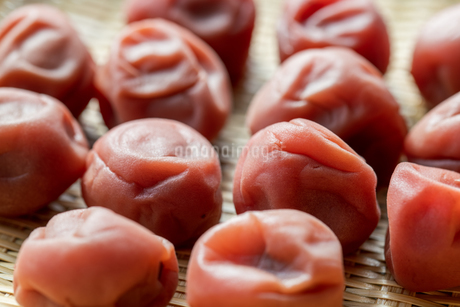 Umeboshi,Japanese salt plums on bamboo basket.の写真素材 [FYI04087657]