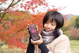 紅葉と女の子の写真素材 [FYI04088003]