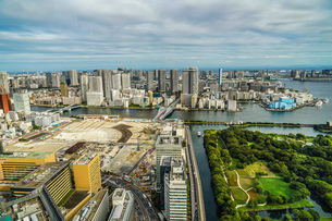 カレッタ汐留の展望台から見える東京の街並みの写真素材 [FYI04088553]