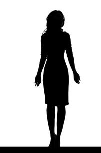 スリムな日本人女性のシルエットのイラスト素材 [FYI04089862]