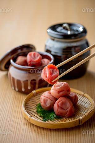 Umeboshi. Japanese salt plums and Umeboshi jar. Traditional Japanese food.の写真素材 [FYI04090352]