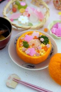 お花畑のみかんずしで雛祭りの写真素材 [FYI04090627]