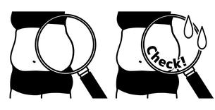ダイエット-ウエスト-メタボ-黒のイラスト素材 [FYI04090629]