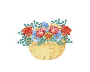 薔薇とパンジーの花籠のイラスト素材 [FYI04090669]