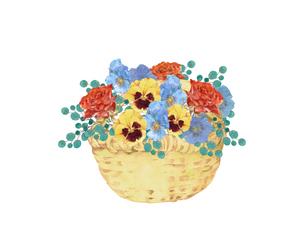 薔薇とパンジーの花籠のイラスト素材 [FYI04090745]