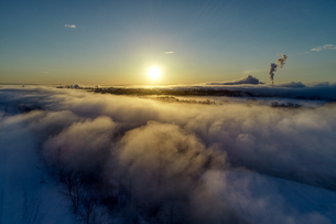気嵐の空撮の写真素材 [FYI04092033]