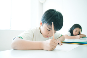 勉強する小学生の写真素材 [FYI04092625]