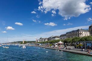 スイス、ジュネーブ、レマン湖の風景の写真素材 [FYI04093705]