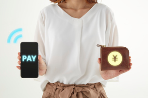 スマホと財布を手に持っている女性の写真素材 [FYI04093754]
