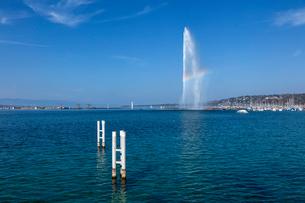 スイス、ジュネーブ、レマン湖と大噴水の写真素材 [FYI04093776]