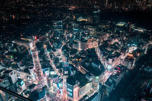 俯瞰で望む渋谷の夜景の写真素材 [FYI04093924]