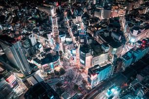 俯瞰で望む渋谷の夜景の写真素材 [FYI04093931]