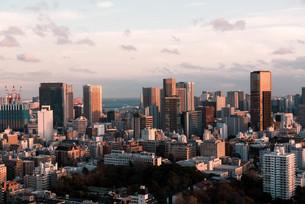 夕暮れの東京都心のビル群の写真素材 [FYI04094008]