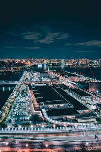 俯瞰で望む豊洲市場の夜景の写真素材 [FYI04094017]
