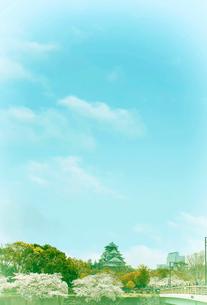 大阪城と桜と橋の写真素材 [FYI04094378]