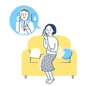 医師に電話相談する女性のイラスト素材 [FYI04095322]
