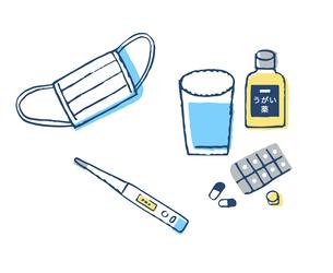 マスクと体温計とうがい薬のイラスト素材 [FYI04095325]