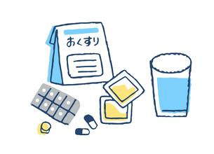 処方薬とコップの水のイラスト素材 [FYI04095333]