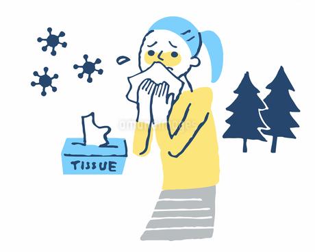 花粉症 鼻水をかむ女性のイラスト素材 [FYI04095341]