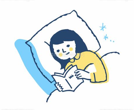ベッドで本を読む女性のイラスト素材 [FYI04095346]