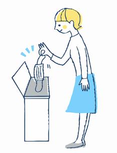 使用済みマスクをゴミ箱に入れる女性のイラスト素材 [FYI04095360]