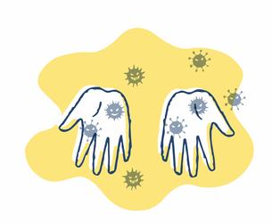 手のばい菌のイラスト素材 [FYI04095363]