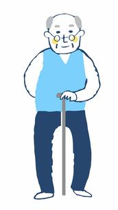 杖をついているおじいちゃんのイラスト素材 [FYI04095365]