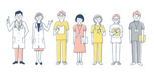 医療 人物7人セット ピンクのイラスト素材 [FYI04095399]