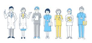 医療 人物7人セット ブルーのイラスト素材 [FYI04095401]