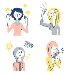 髪の悩み 女性 セットのイラスト素材 [FYI04095418]