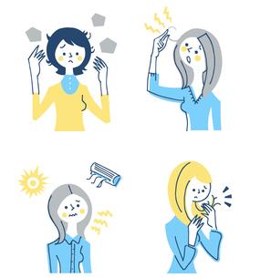 髪の悩み 女性 セットのイラスト素材 [FYI04095424]
