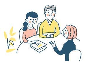 相談するカップルと接客係のイラスト素材 [FYI04095440]