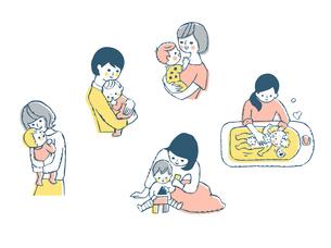 ママと赤ちゃん セット ピンクのイラスト素材 [FYI04095465]
